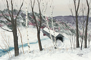 Snow-covered Landscape Pastels Prints - Covered Bridge Print by George Burr