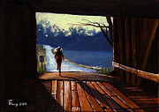 Covered Bridge Painting Metal Prints - Covered Bridge Metal Print by Robert Tracy