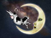 Rhyme Digital Art Framed Prints - Cow Jumped Over The Moon Framed Print by Paul Fleet