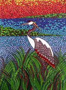 Abstract Wildlife Paintings - Crane by Andrea Barrett