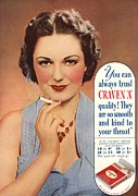 Smoking Drawings Posters - Craven A 1930s Uk Cigarettes Smoking Poster by The Advertising Archives