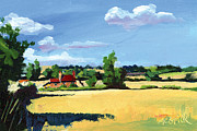 Expressionist Prints - Crayke Farm North Yorkshire Print by Neil McBride