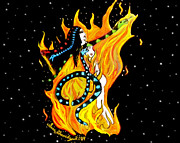 Medusa Mixed Media Metal Prints - Creation Metal Print by Sara Gravely- Comstock