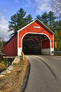 Autumn Scenes Posters - Cresson Covered Bridge Poster by Joann Vitali