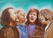 Neil Young Painting Framed Prints - Crosby Stills Nash and Young Framed Print by Kean Butterfield