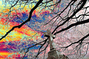 Forgive Prints - Cross and Bare Tree Limbs New Cathedral Cemetery Baltimore Maryland Print by John Hanou