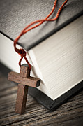Christian Prayer Photos - Cross and Bible by Elena Elisseeva