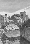 White River Scene Drawings Posters - Croston Lancashire Poster by Paul Hill