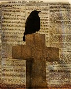Aged Art Collage Prints - Crow Collage Print by Gothicolors And Crows