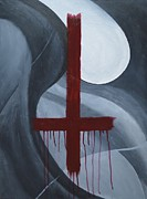 Crucifix Art Painting Metal Prints - Crucifix 180 Metal Print by Thomas Attermann
