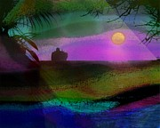 Tropical Sunset Digital Art Prints - Cruise into the sunset Print by Athala Carole Bruckner