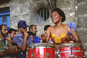 Drums Framed Prints - Cuba Havana Music Framed Print by Henk van der Leeden