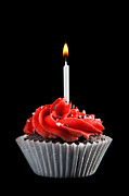 Frosting Prints - Cupcake with Candle Print by Cindy Singleton