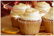 Yellow Fireworks Prints - Cupcakes and Fireworks Print by Sophie Vigneault