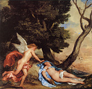 Psyche Paintings - Cupid and Psyche by Sir Anthony Van Dyck