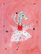 Shower Gift Paintings - Custom Childs Zebra Ballerina by Kristi L Randall