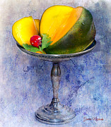 Mango Digital Art Prints - Cut mango on sterling silver dish Print by Gunter Nezhoda
