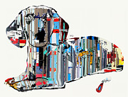 Mixed Media Of Dogs Posters - Dachshund Graffiti Poster by Brian Buckley