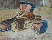 Brown Boots Painting Originals - Dads Work Shoes by Judith Espinoza