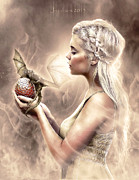 Game Mixed Media Framed Prints - Daenerys Framed Print by Judas Art