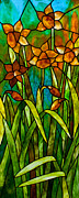 David Kennedy Glass Art - Daffodil Day by David Kennedy