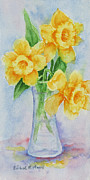 Daffodil Painting Framed Prints - Daffodils Framed Print by Barbel Amos
