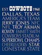 Dallas Digital Art Framed Prints - Dallas Cowboys Framed Print by Jaime Friedman