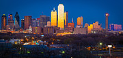 Glass Reflecting Metal Prints - Dallas Skyline Metal Print by Inge Johnsson