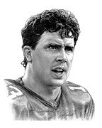 Pro Football Drawings Posters - Dan Marino Poster by Harry West