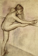 Stretching Drawings Prints - Dancer at the Bar Print by Edgar Degas