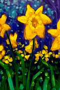 Acrylic. Green Prints - Dancing Daffodils cropped  Print by John  Nolan