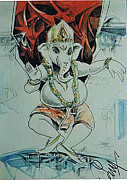 Ganapathi Paintings - Dancing Ganesha by Ajay Kumar Samir