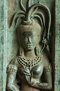 Khmer Prints - Dancing goddesses carving at Angkor Wat Cambodia Print by Fototrav Print