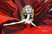 Taylor Swift Painting Prints - Dancing In Red - Taylor Swift Print by Ebenlo PainterOfSong