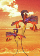Engagement Digital Art Metal Prints - Dancing in the Sunset Metal Print by Angela A Stanton
