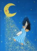 Luna Mixed Media Prints - Dancing On Moonbeams Print by Pamela Allegretto