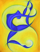 Abstract Expressionist Metal Prints - Dancing Sprite in Yellow and Blue Metal Print by Tiffany Davis-Rustam