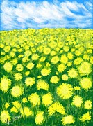Field Of Dandelions Prints - Dandelion Field Print by Astrea Artist