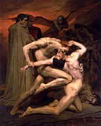 Virgil Paintings - Dante and Virgil in Hell by William Adolphe Bouguereau