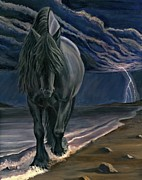 Black Stallion Paintings - Dark Knight of the Soul by Sheri Gordon