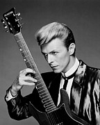Guitarist Photo Framed Prints - David Bowie Portrait Framed Print by Sanely Great