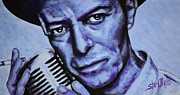 Blue And White Prints - David Bowie Print by Shirl Theis