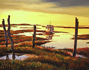 Low Tide Paintings - Dawn At Saltmarsh by David Lloyd Glover