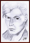David Bowie Drawings - D.b. by Judy Minderman