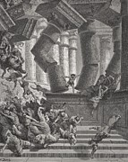 Columns Drawings Metal Prints - Death of Samson Metal Print by Gustave Dore