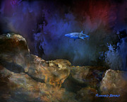 Shark Digital Art Prints - Deep Water Shark Print by Richard Beard