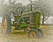 Machinery Photo Framed Prints - Deere In Fog Framed Print by Robert Frederick