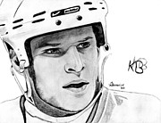 Nhl Hockey Drawings Prints - Defence on Offence Print by Kayleigh Semeniuk
