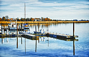 Docked Boats Originals - Delaware Bay by Elaine Walsh