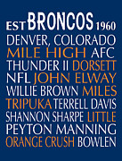 Denver Broncos Framed Prints - Denver Broncos Framed Print by Jaime Friedman
